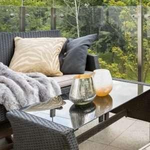 rattan glass table